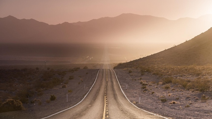 sunset, nature, wind, landscape, USA, Nevada, mountains, dust, shrubs, road