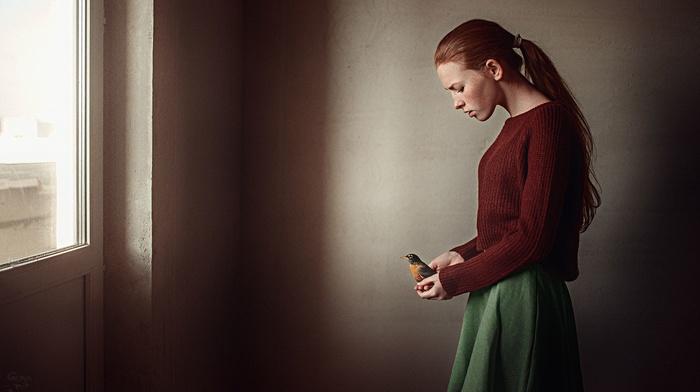 girl, Katya Voronina, window, model, animals, Georgy Chernyadyev, birds