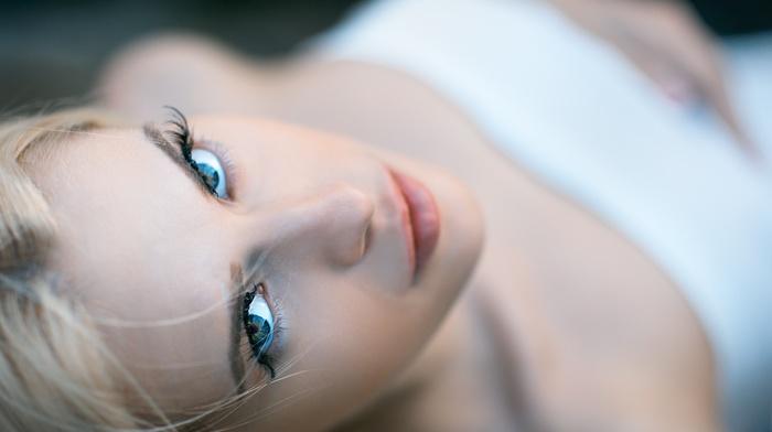 bare shoulders, looking at viewer, blue eyes, depth of field, girl, Igor Egorov, eyes, blonde, face, model