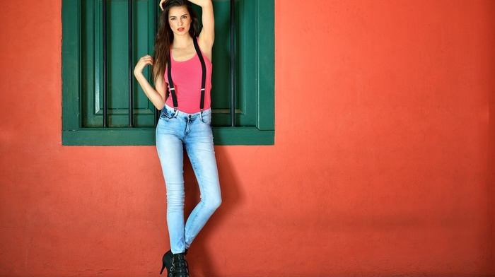 girl, simple background, brunette, legs, heels, tank top, jeans, model, looking at viewer, long hair, Warren G