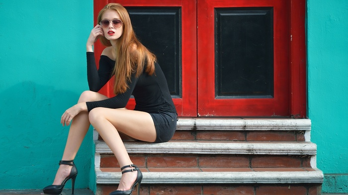 ankle strap heels, long hair, redhead, girl, simple background, model, straight hair, looking at viewer, shorts, legs, glasses, stairs, bare shoulders, heels, Warren G