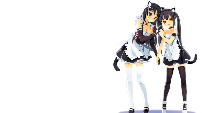 anime girls, maid outfit, anime, Nakano Azusa, Akiyama Mio, K, on, animal ears