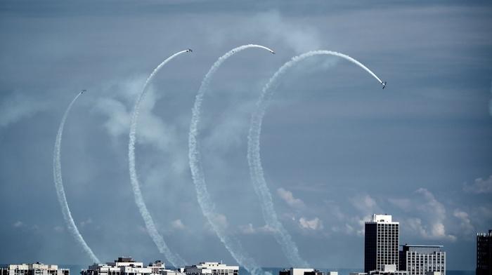airshows, city, aircraft, sky
