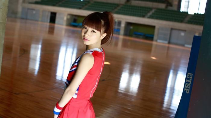 looking at viewer, standing, girl, j, pop, brown eyes, Morning Musume, redhead, auburn hair, Ishida Ayumi, Asian
