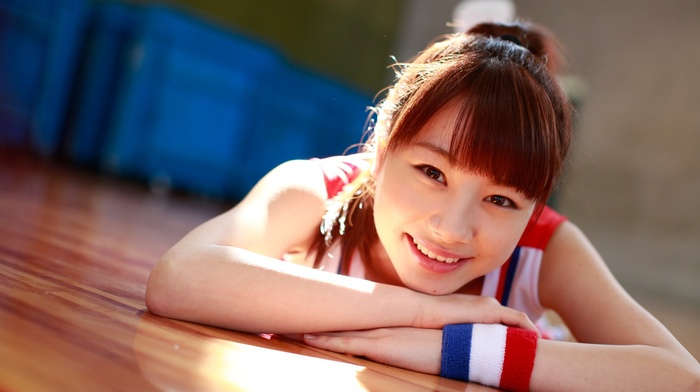 j, pop, smiling, redhead, auburn hair, lying on front, Ishida Ayumi, brown eyes, Morning Musume, looking at viewer, Asian, girl