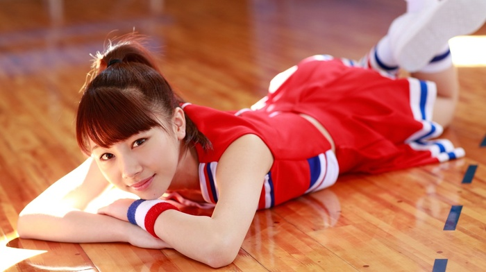 redhead, auburn hair, Morning Musume, j, pop, fetish, ponytail, looking at viewer, Ishida Ayumi, brown eyes, girl, on the floor, feet in the air, lying on front, Asian