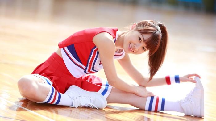 girl, Morning Musume, auburn hair, ponytail, smiling, sitting, on the floor, Asian, Ishida Ayumi, redhead, j, pop, brown eyes