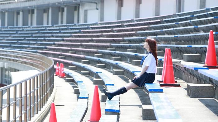 Ishida Ayumi, school uniform, girl, redhead, closed eyes, j, pop, auburn hair, Morning Musume, Asian, sitting, stadium