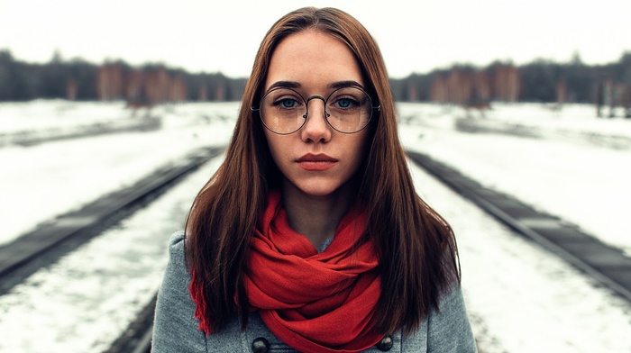 girl outdoors, looking at viewer, face, girl with glasses, brunette, winter, blue eyes, scarf, girl, glasses