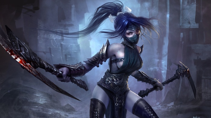 anime, blood, armor, weapon, anime girls, mask, AkaliLeague of Legends, League of Legends, long hair, sideboob
