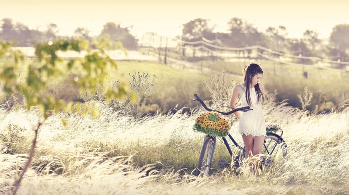 nature, girl outdoors, girl with bicycles, bicycle, model