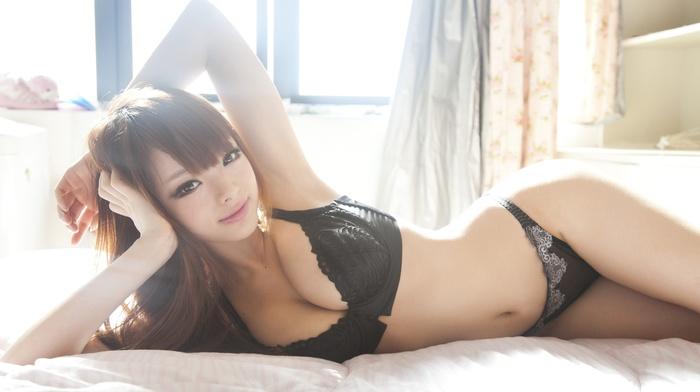 Asian, girl, model, in bed