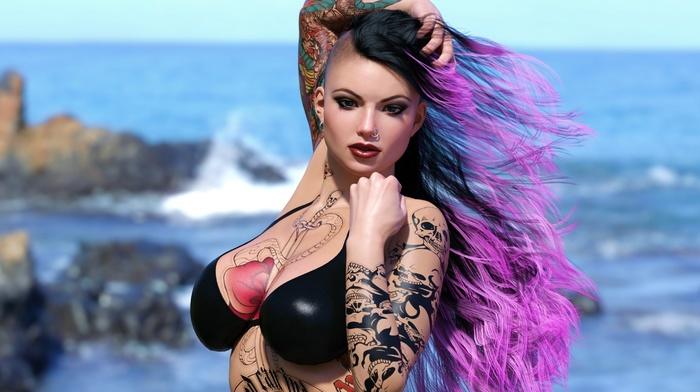 artwork, render, girl, big boobs, depth of field