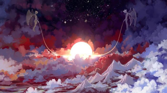stars, angel, artwork, Sun, fantasy art, demon