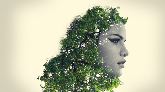 digital art, photoshop, trees, einorasv, face