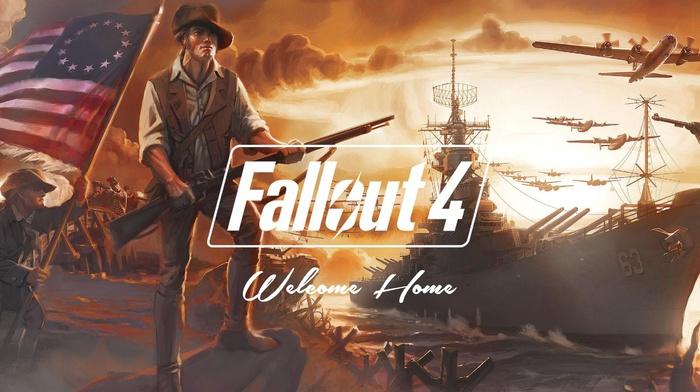 ship, flag, Fallout 4, airplane, Fallout