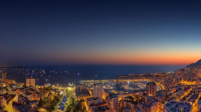 dusk, ultrawide, sea, ship, cityscape