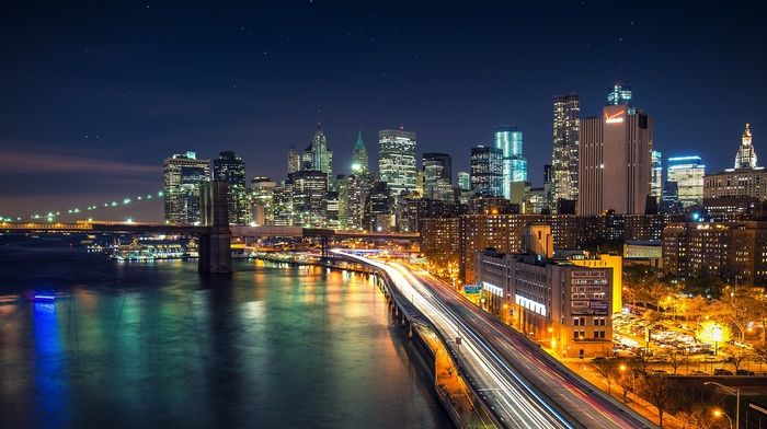 city lights, New York City, city, Brooklyn Bridge, long exposure