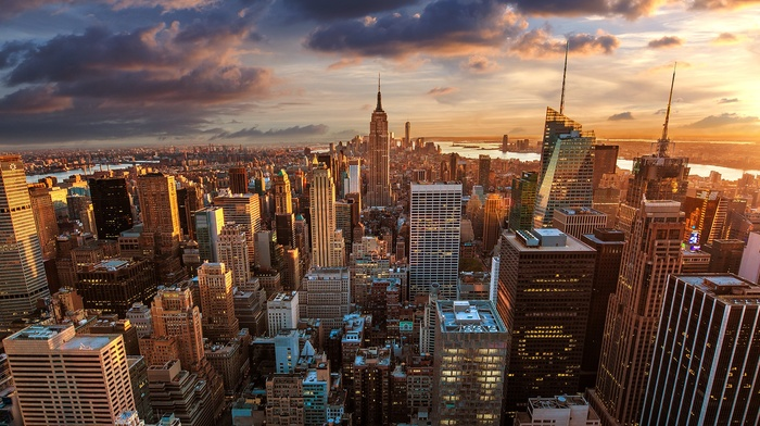 New York City, clouds, city lights, empire state building, skyline, city, Manhattan