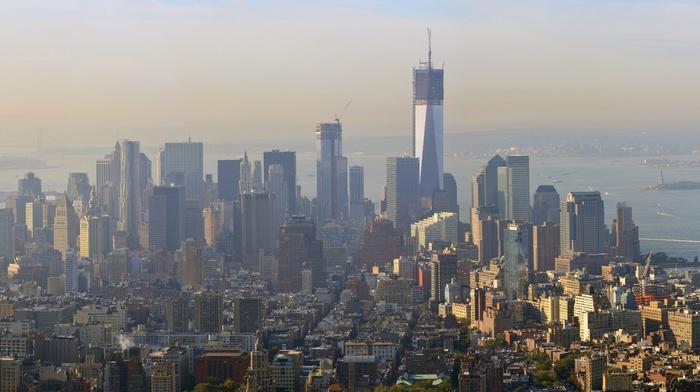 One World Trade Center, skyscraper, city, skyline, Manhattan, New York City