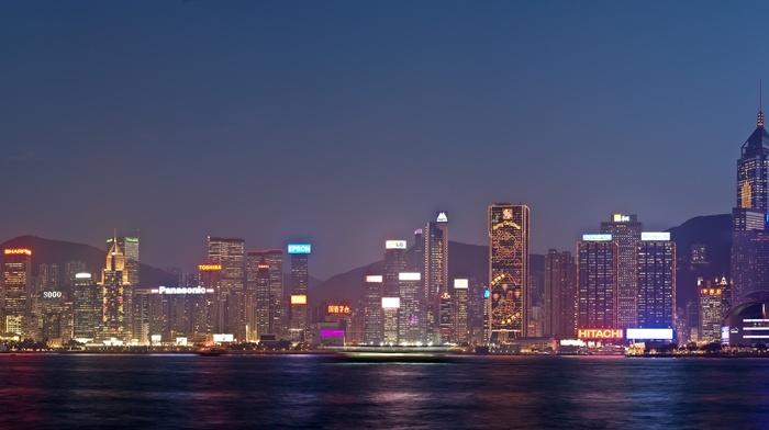 city, water, neon, sky