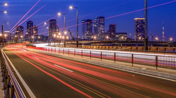 lights, ultrawide, long exposure, city, road