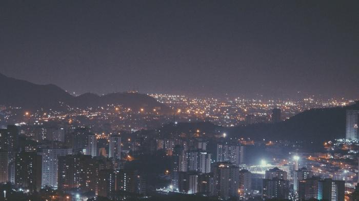 night, city, filter, street light