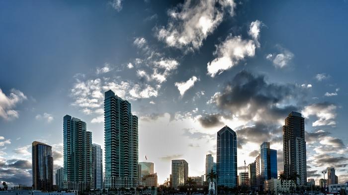 skyscraper, clouds, city