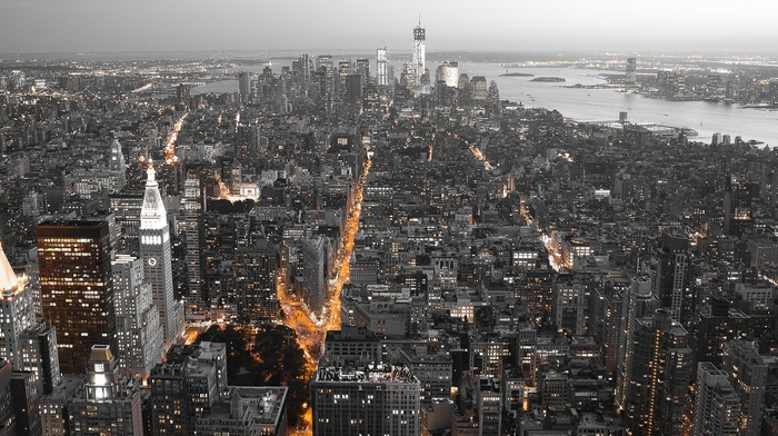cityscape, lights, panorama, New York City, city, USA, selective coloring