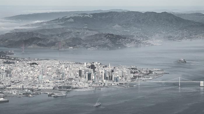 cityscape, landscape, bridge, island, monochrome, san francisco