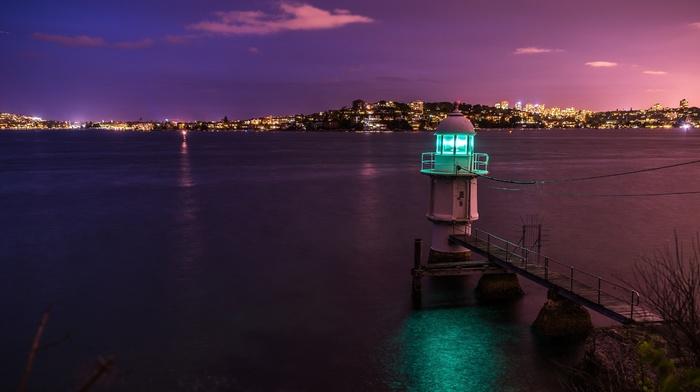 lighthouse, night, harbor