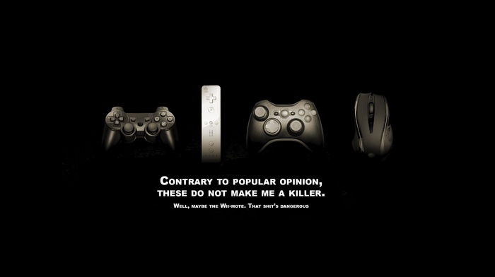 x, box, typography, controllers, video games, computer mouse, playstation, humor, quote, Wii, black background