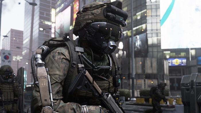 Call of Duty Advanced Warfare, Call of Duty, military, screen shot, soldier, artwork, weapon