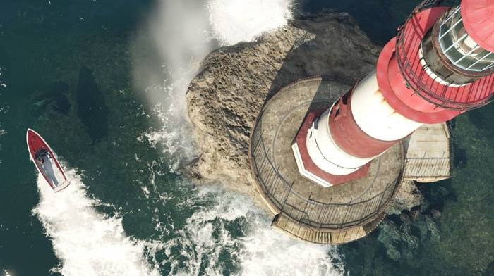 lighthouse, boat, video games, Grand Theft Auto V, Grand Theft Auto, screen shot