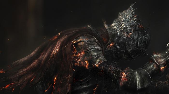 Dark Souls III, artwork, video games, sword, From Software, knight, Dark Souls, armor, digital art, fire, death, warrior