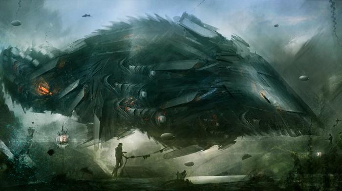 science fiction, ship, digital art