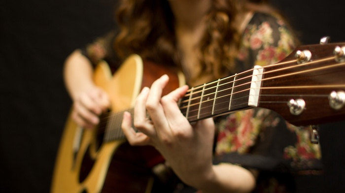 music, girl, guitar
