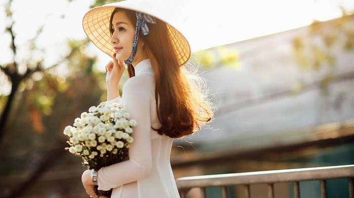 o di, girl, Asian, flowers, vietnamese, nn l, hat, model