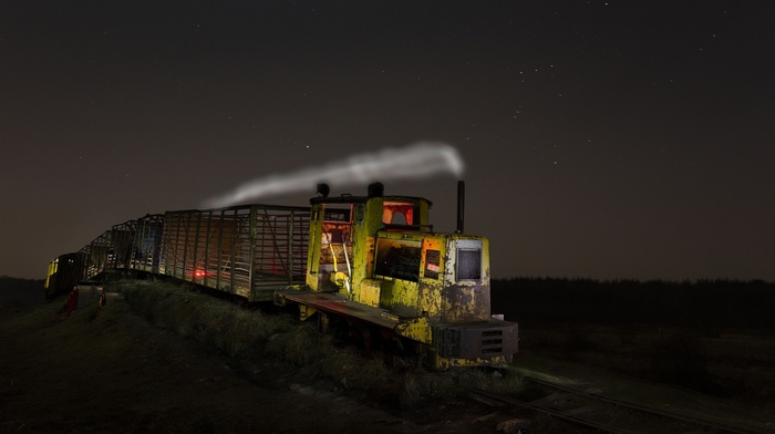 night, train, vehicle