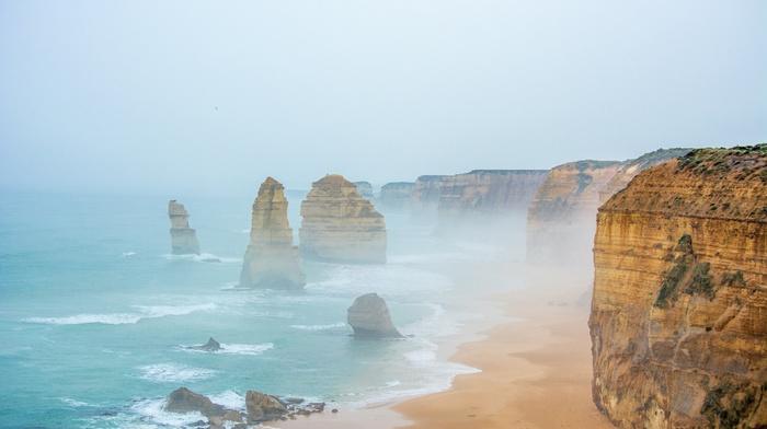Australia, sea, nature, water, Twelve Apostles, mist, sand, cliff