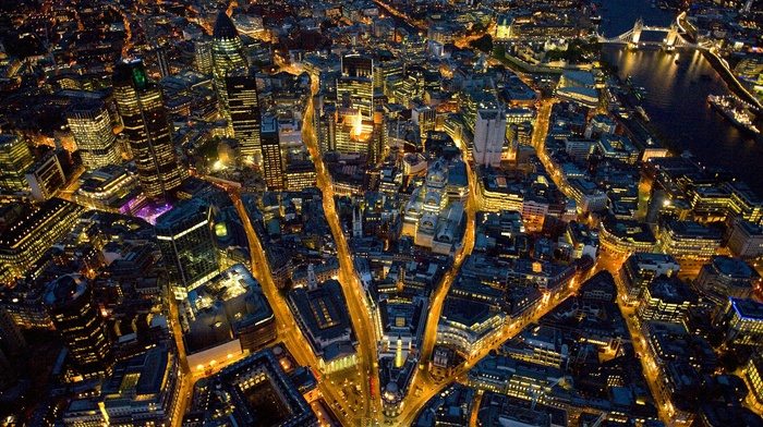 London, city lights, England, road, cityscape, city, night
