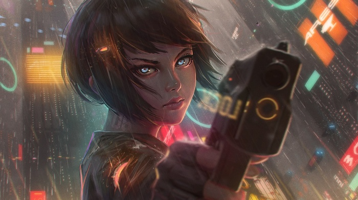 cyberpunk, weapon, anime, science fiction, short hair, rain, girls with guns, gun, artwork, GUWEIZ, water, anime girls