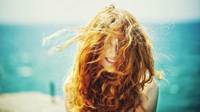 face, sunlight, girl, freckles, curly hair, windy, redhead, hair in face, smiling