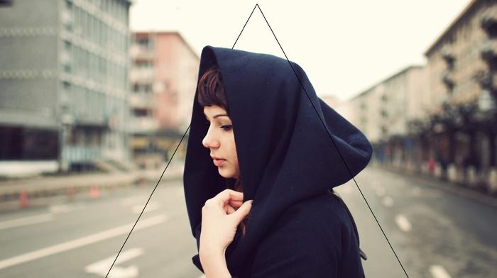 girl, dyed hair, hoods, street, triangle