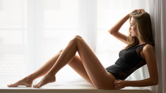One, piece swimsuit, lingerie, sitting, looking away, Milan R, barefoot, hands in hair, girl, girl indoors, long hair, blonde, legs, model, window sill