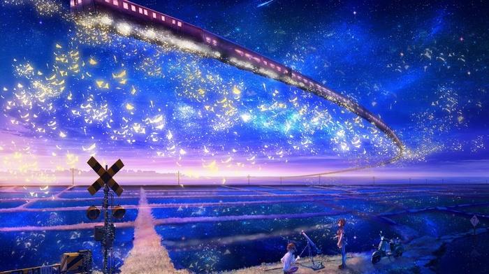 stars, anime girls, magic, train, anime, sky