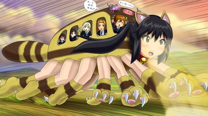 dark hair, Tainaka Ritsu, animal ears, Hirasawa Yui, My Neighbor Totoro, parody, Kotobuki Tsumugi, K, on, blonde, Nakano Azusa, Studio Ghibli, Akiyama Mio, anime girls