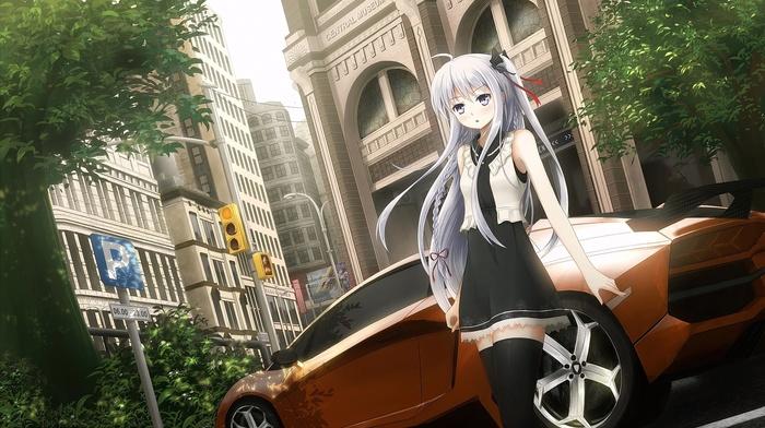 Lamborghini, car, original characters, anime, Date A Live, Yatogami Tohka, anime girls