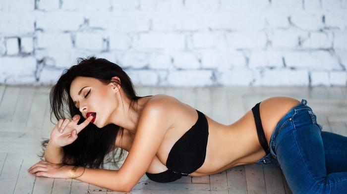lingerie, thong, Pants down, strapless bras, model, on the floor, Angelina Petrova, jeans, girl, black bras, finger in mouth