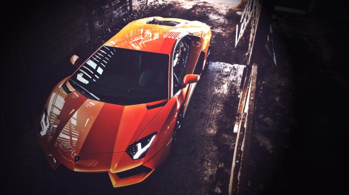 digital art, vehicle, orange, Lamborghini Aventador, car, sports car, Lamborghini